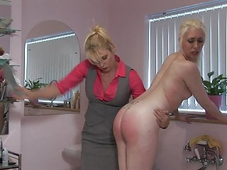 Lezdom Bathroom Spanking