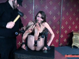 Shackled slave flogged before toyed by master