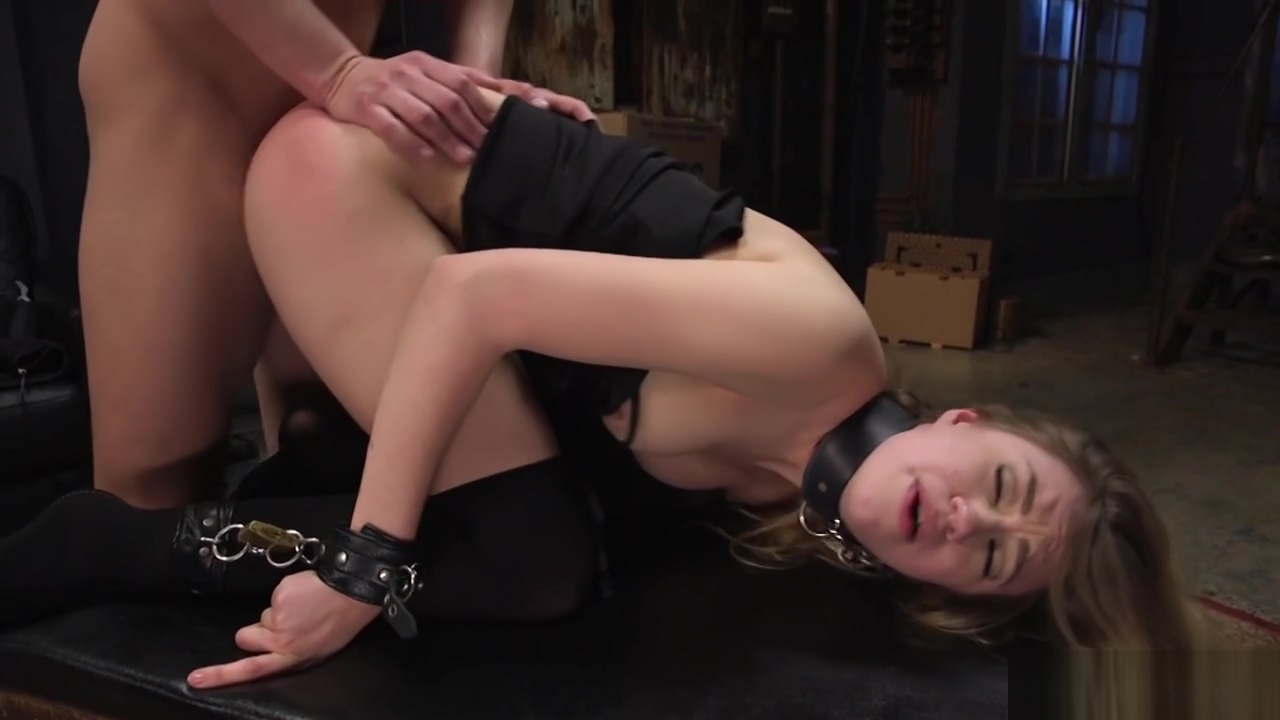 Blonde slave is fucked in box tie