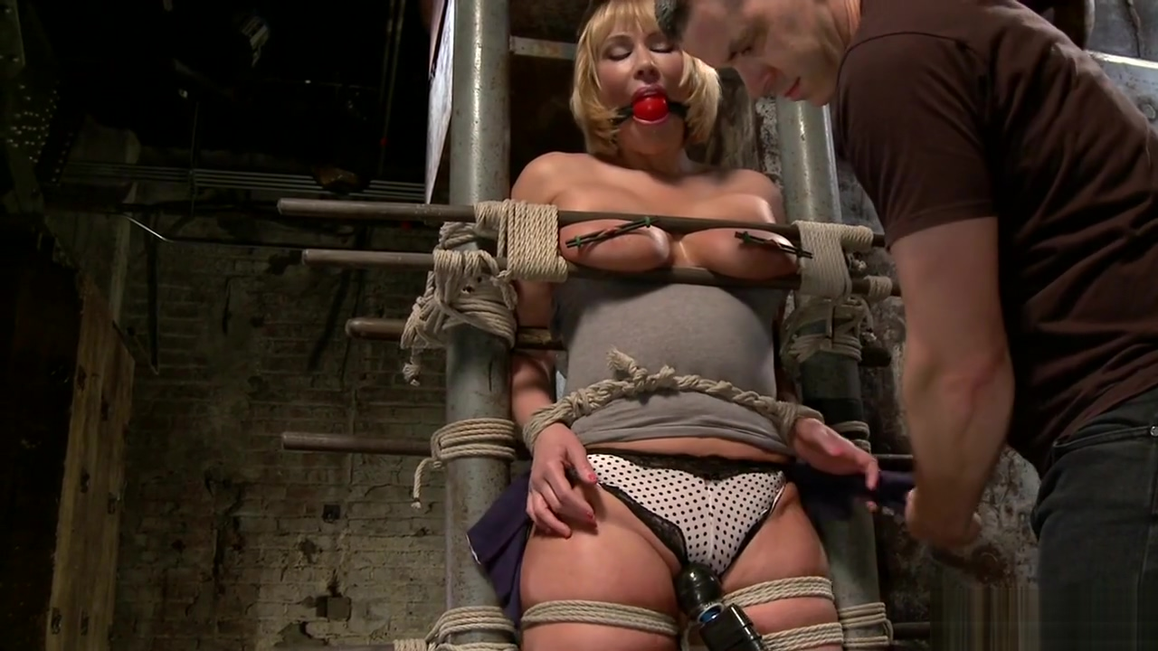 Tied huge ass blonde riding dildo