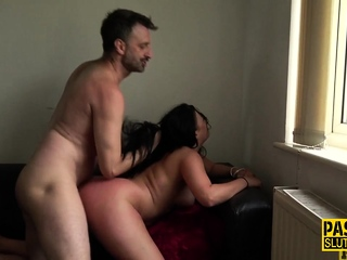 Fingered chubby submissive gets fucked