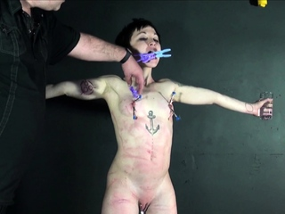 Asian BDSM of Mei Mara pegged and punished