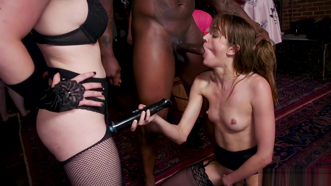 Tattooed slave gangbang fucked in party
