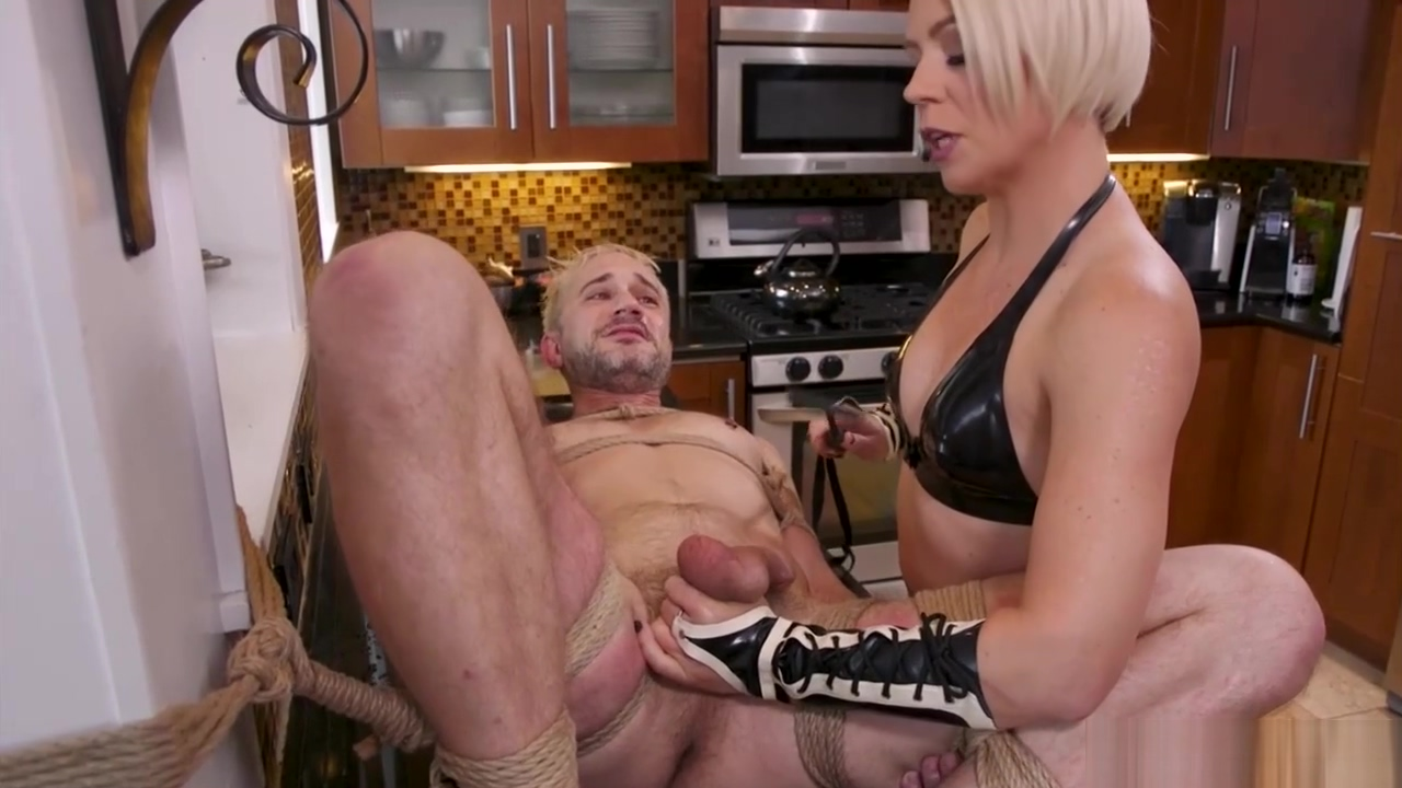 MILF housewife whipping man slave