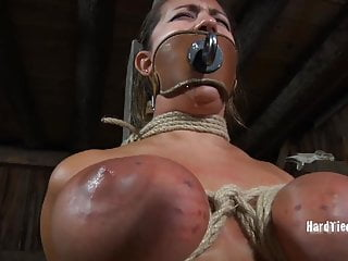 Trina Michaels tied up and gagged with dildo