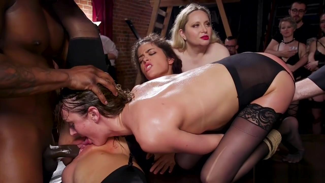 Slaves fucking big black cock in party