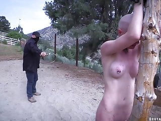 Hairless slave receives the bullwhip