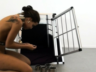 Roped ebony slavegirl in black bdsm and whipped
