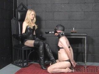 Mistress Eleise disciplines a slave