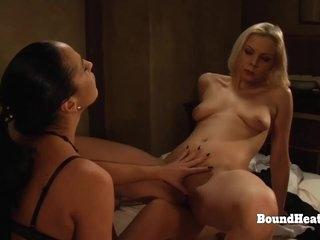 Naked Lesbian Slave Humping Mistress's Leg And Orgasming