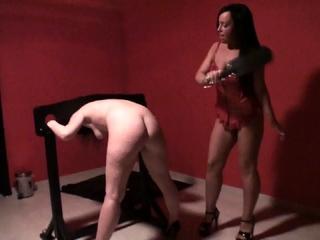 hanna spanking her Sub samantha in dungeon