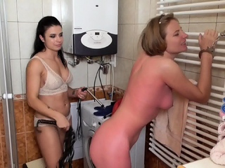 Lady deborah Whip her Sub ann in bathroom