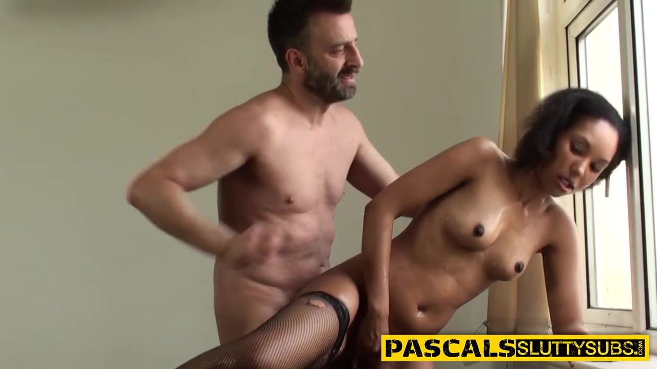 Black bdsm sub gagging on dick