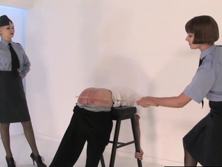 Corporal femdoms caning oldman sub together