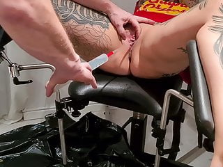 CrazyFetishCouple - Pussy Torture - Enema on the gyno chair