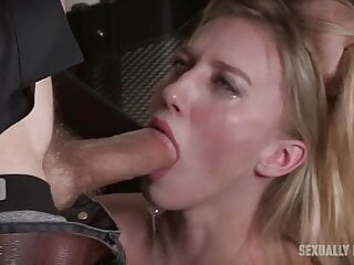 His secretary has to suck his cock and is brutally fucked