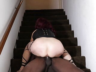 Fucking my BBC lover in his wife's condo on the stairs