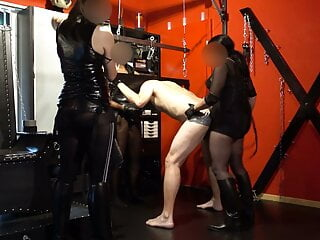 Strap-on gangbang with three mistresses, fisting, humiliation