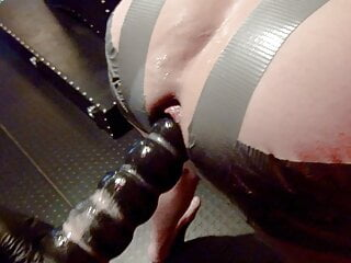Strapon gangbang with 3 mistresses part 2, strapon, fisting