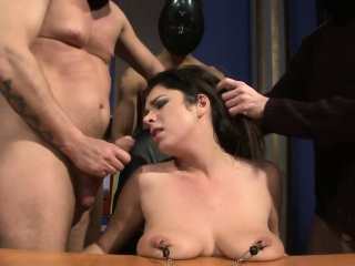 Busty submissive facialized by maledom group