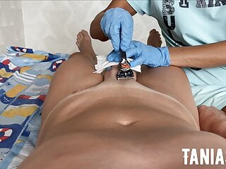 Old lady epilation and shaving, milking cock and sucking out semen
