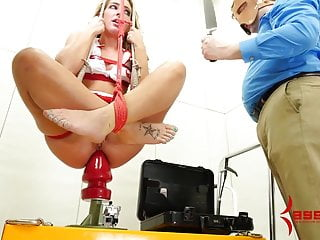 Nurse Savannah Fox fucked in ass and dropped onto huge dildo