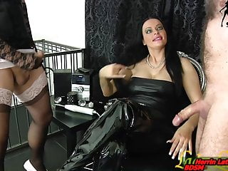 Slave and tranny masturbation contest for german domina