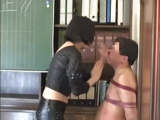 Dominant Japanese broad tortures her thralls