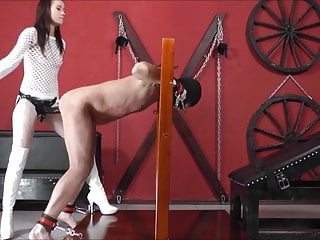 FEMDOM sadistic strapon anal destruction of a dicklet male