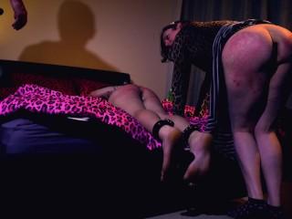 Hung dom brutalizes slutty trans slaves