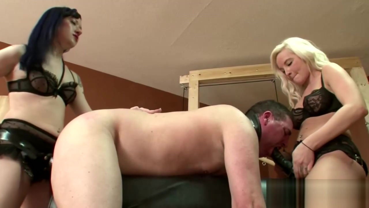 Two horny babes fucks a dude with strapon