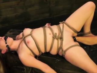 Teen Lilly Ligotage pussy fisted while bonded